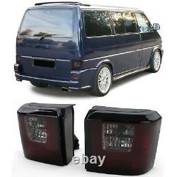 2 Feux Arriere Vw T4 Transporter Multivan Bus Caravelle Led Rouge Noir Lightbar